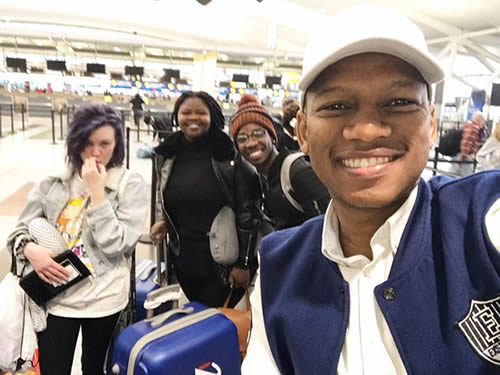 ProVerb and Season 15 Top 3 contestants Luyolo Yiba, Sneziey Msomi and Micayla Oelofse at John F. Kennedy, International Airport checking in for their flight back home