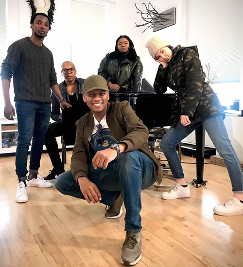 ProVerb, Idols SA senior music director Llewellyn and Season 15 Top 3 contestants Luyolo, Sneziey, Micayla in a rehearsal studio in SoHo, New York