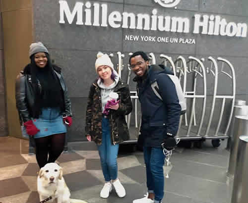 Season 15 Top 3 contestants Sneziey, Micayla and Luyolo at Millenium Hilton hotel in New York