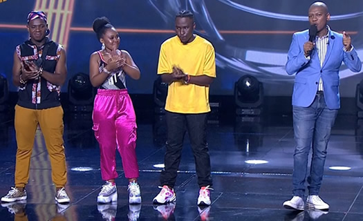 Idols SA 2020 Top 3 contestants, Mr Music, Zama and Brandon on stage with show host ProVerb