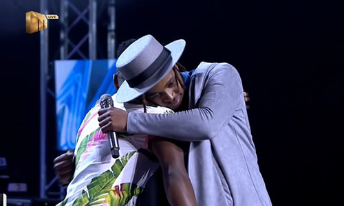 ZanoThando hugs Mr Music after being evicted