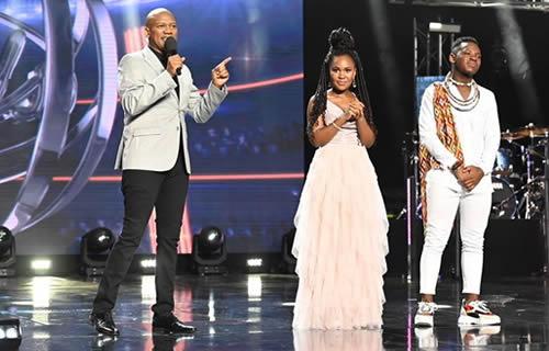 Idols SA 2020 Finalists, Mr Music and Zama Khumalo with host ProVerb