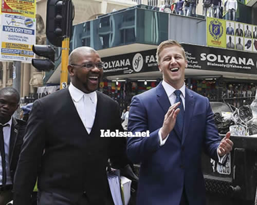 Gareth Cliff and his lawyer Dali Mpofu after winning the Idols SA lawsuit against M-net