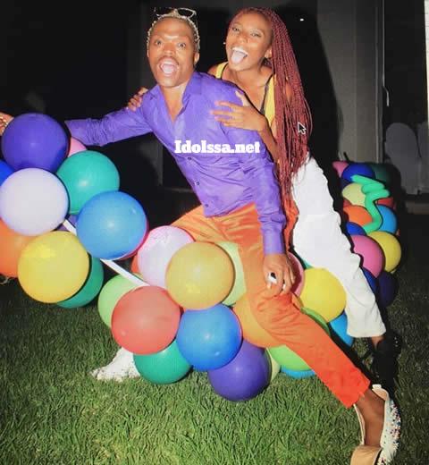 Somizi Mhlongo and daughter Bahumi Madisakwane