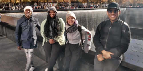 ProVerb and Season 15 Top 3 Micayla, Sneziey and Luyolo at the 9/11 memorial