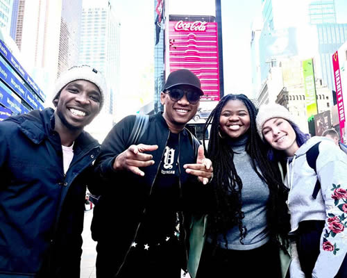 ProVerb and Idols SA season 15 Top 3 contestants, Luyolo, Micayla and Sneziey at Times Square New York City