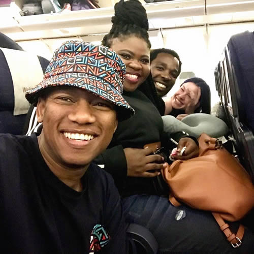 ProVerb and Idols SA season 15 Top 3 contestants Micayla, Luyolo and Sneziey on board a plane and ready for a flight to New York City