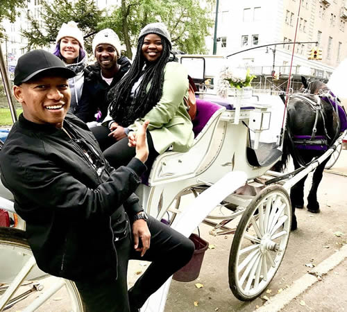 ProVerb and Season 15 Top 3 contestants Micayla, Luyolo and Sneziey enjoy Central Park by horse and carriage