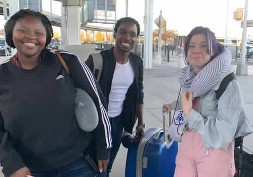 Idols SA season 15 Top 3 contestants Micayla, Luyolo and Sneziey after arriving at John F. Kennedy, International Airport in New York