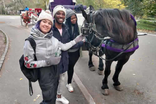 Season 15 Top 3 contestants Micayla, Luyolo and Sneziey enjoy Central Park by horse and carriage