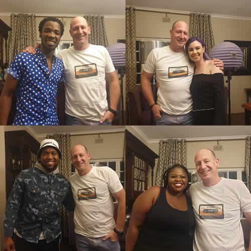 Idols SA Season 15 Top 4 contestants, Luyolo Yiba, Micayla Oelofse, Nolo Seodisha and Sneziey Msomi at Gallo Records