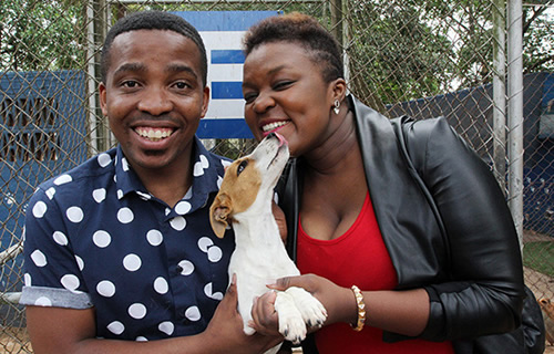 Idols SA Season 10 Top 2 Contestants, Vincent Bones and Bongi Silinda at the Pietermaritzburg SPCA during their tour of Durban, Johannesburg and Cape Town during the Grand Finale week