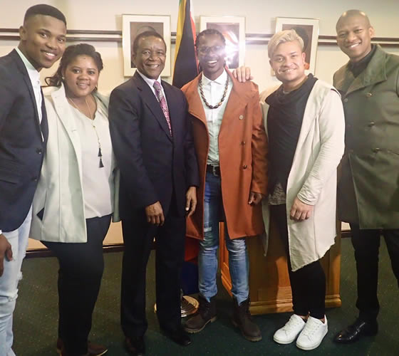 Idols SA Season 12 Top 4 Contestants, Thami Shobede, Noma Khumalo, Terra Cox, Tebogo Louw and Presenter ProVerb at the South African Consulate in New York for a Meet and Greet