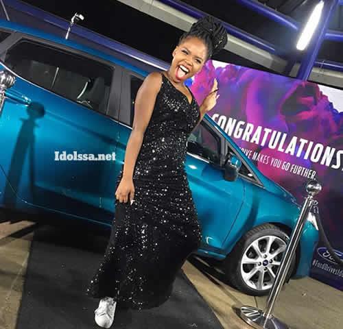 Idols SA Season 14 winner, Yanga Sobetwa with her prize car, Ford Fiesta Titanium 1.0 EcoBoost