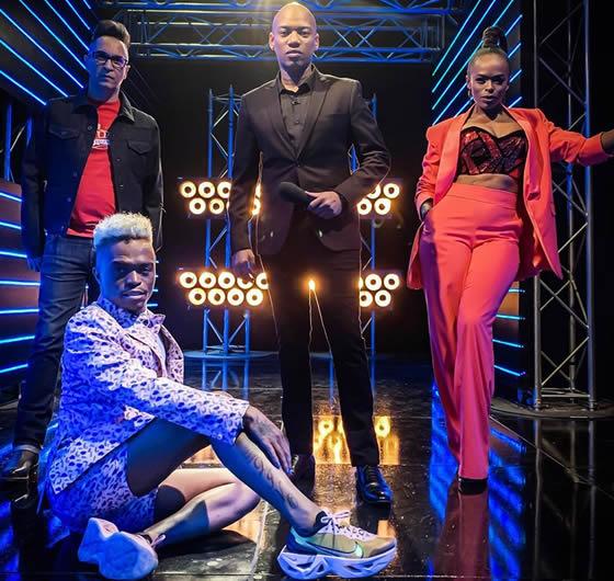 Idols SA Season 15 judges, Somizi Mhlongo, Randall Abrahams, Unathi Nkayi and Presenter, ProVerb