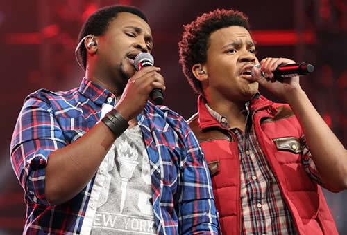 Idols SA Season 9 Top 4 contestants, Brenden Ledwaba and Musa Sukwene performing a duet