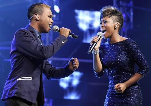 Idols SA Season 9 Top 4 contestants, Sonke Mazibuko and Zoe Zana performing a duet