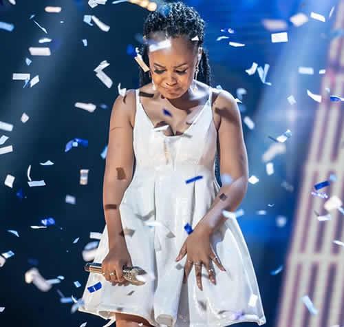 Zama Khumalo crying after being announced as Idols SA Season 16 winner
